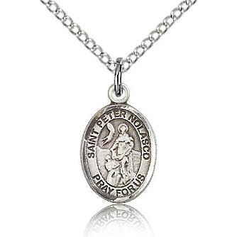Sterling Silver 1/2in St Peter Nolasco Charm & 18in Chain
