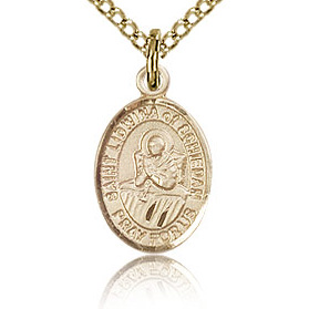 Gold Filled 1/2in St Lidwina of Schiedam Charm & 18in Chain