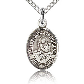 Sterling Silver 1/2in St Lidwina of Schiedam Charm & 18in Chain