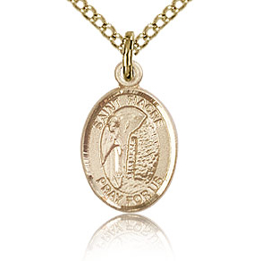 Gold Filled 1/2in St Fiacre Charm & 18in Chain