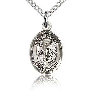 Sterling Silver 1/2in St Fiacre Charm & 18in Chain