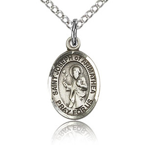 Sterling Silver 1/2in St Joseph of Arimathea Charm & 18in Chain
