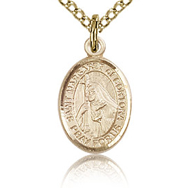 Gold Filled 1/2in St Margaret of Cortona Charm & 18in Chain