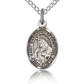 Sterling Silver 1/2in St Margaret of Cortona Charm & 18in Chain