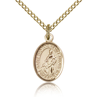 Gold Filled 1/2in St Thomas of Villanova Charm & 18in Chain