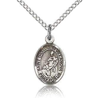 Sterling Silver 1/2in St Thomas of Villanova Charm & 18in Chain