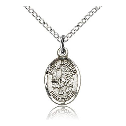 Sterling Silver 1/2in St Rosalia Charm & 18in Chain