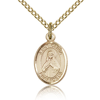 Gold Filled 1/2in St Olivia Charm & 18in Chain