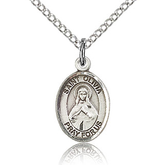 Sterling Silver 1/2in St Olivia Charm & 18in Chain