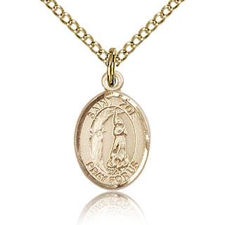 Gold Filled 1/2in St Zoe of Rome Charm & 18in Chain