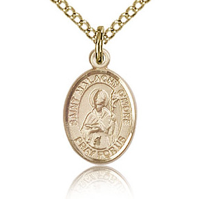 Gold Filled 1/2in St Malachy O'More Charm & 18in Chain