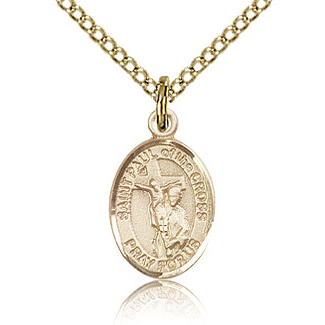 Gold Filled 1/2in St Paul of the Cross Charm & 18in Chain