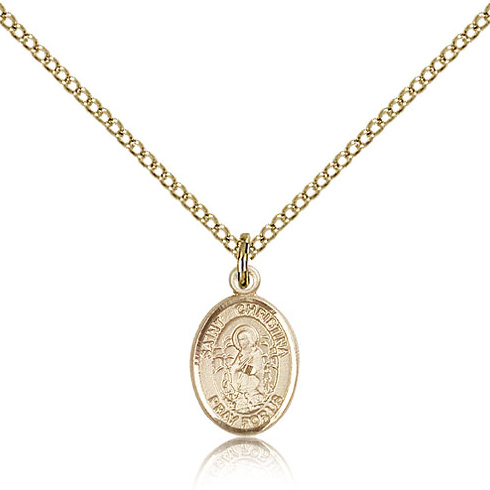 Gold Filled 1/2in St Christina Charm & 18in Chain