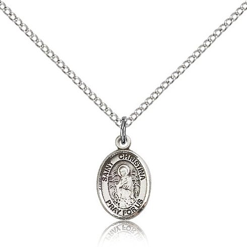Sterling Silver 1/2in St Christina Charm & 18in Chain