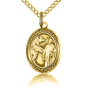 Gold Filled 1/2in St Columbanus Charm & 18in Chain