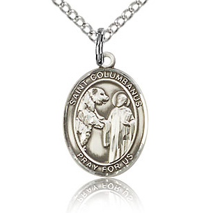 Sterling Silver 1/2in St Columbanus Charm & 18in Chain