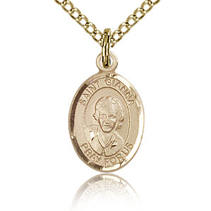 Gold Filled 1/2in St Gianna Charm & 18in Chain