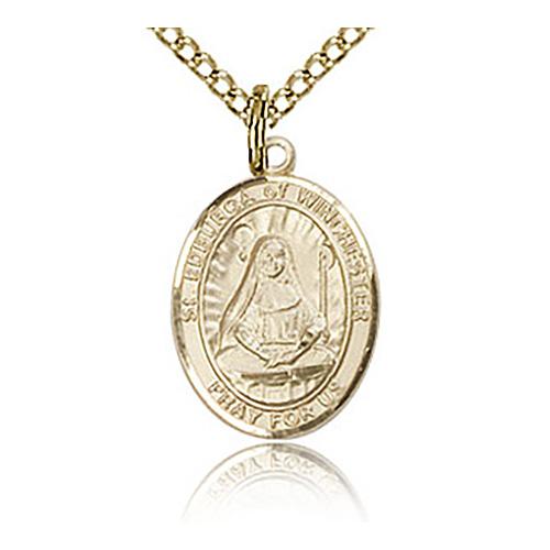 Gold Filled 1/2in St Edburga Charm & 18in Chain