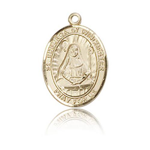 14kt Yellow Gold 1/2in St Edburga Medal