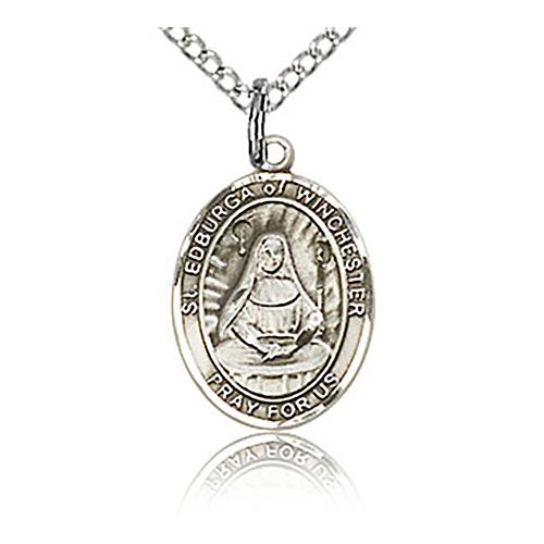 Sterling Silver 1/2in St Edburga Charm & 18in Chain