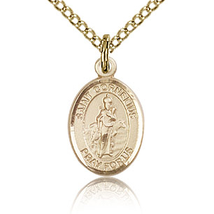 Gold Filled 1/2in St Cornelius Charm & 18in Chain