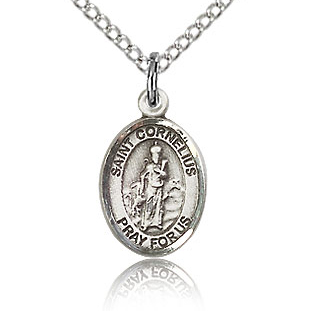 Sterling Silver 1/2in St Cornelius Charm & 18in Chain