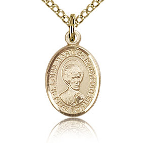 Gold Filled 1/2in St Louis de Montfort Charm & 18in Chain