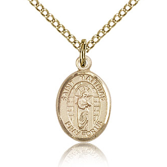 Gold Filled 1/2in St Matthias Charm & 18in Chain