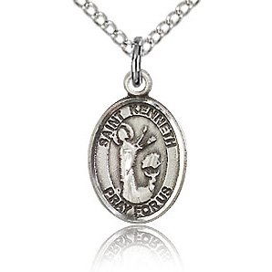 Sterling Silver 1/2in St Kenneth Charm & 18in Chain