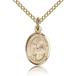 Gold Filled 1/2in St Rene Goupil Charm & 18in Chain