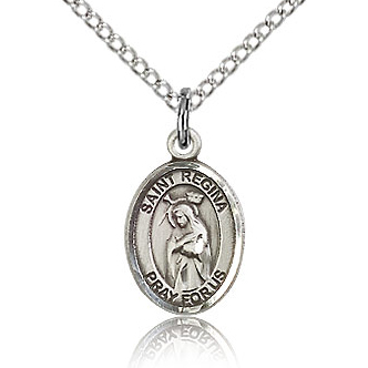 Sterling Silver 1/2in St Regina Charm & 18in Chain