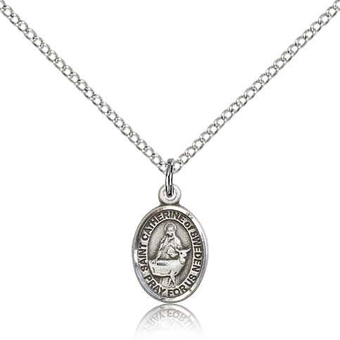 Sterling Silver 1/2in St Catherine of Sweden Charm & 18in Chain