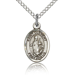Sterling Silver 1/2in St Clement Charm & 18in Chain