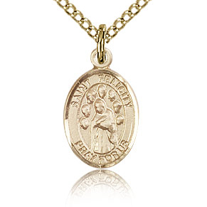 Gold Filled 1/2in St Felicity Charm & 18in Chain