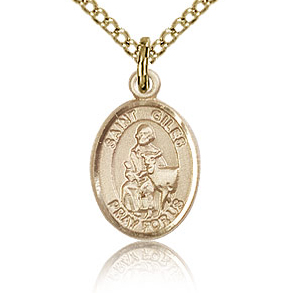 Gold Filled 1/2in St Giles Charm & 18in Chain