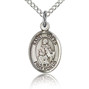 Sterling Silver 1/2in St Giles Charm & 18in Chain