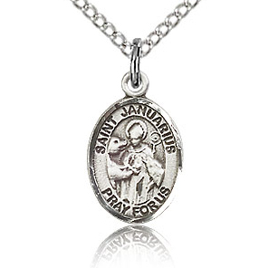 Sterling Silver 1/2in St Januarius Charm & 18in Chain