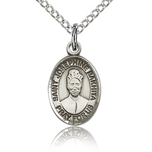 Sterling Silver 1/2in St Josephine Bakhita Charm & 18in Chain