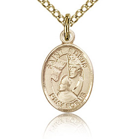 Gold Filled 1/2in St Edwin Charm & 18in Chain