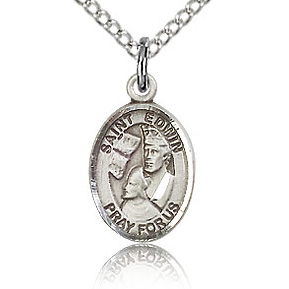 Sterling Silver 1/2in St Edwin Charm & 18in Chain