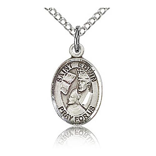 Sterling Silver 1/2in St Edwin Charm & 18in Chain