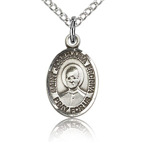 Sterling Silver 1/2in St Josemaria Escriva Charm & 18in Chain