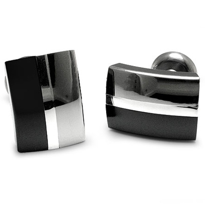 Black Titanium and Sterling Silver Tuxedo Cufflinks