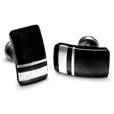 Black Titanium and Sterling Silver Wellington Cufflinks