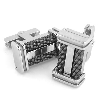 Edward Mirell Titanium Cuff Links with Double Black Cable