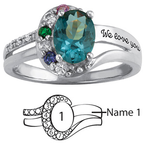 Sterling Silver Blissful with Oval Ring
