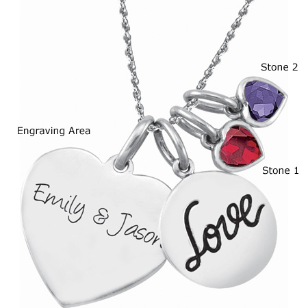 Sterling Silver Sweet Love Charm Necklace