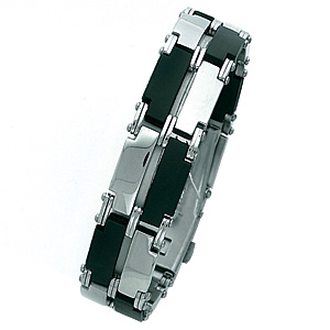 Steel Bracelet with Rubber Accents