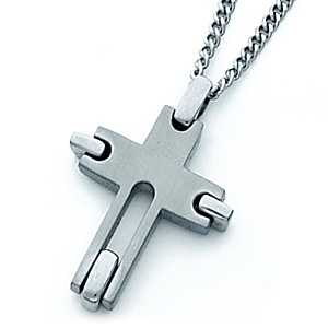Titanium 1in Cross with Steel Chain