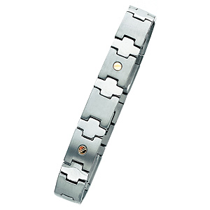 8 to 8 3/4in Titanium Bracelet with Gold Accents